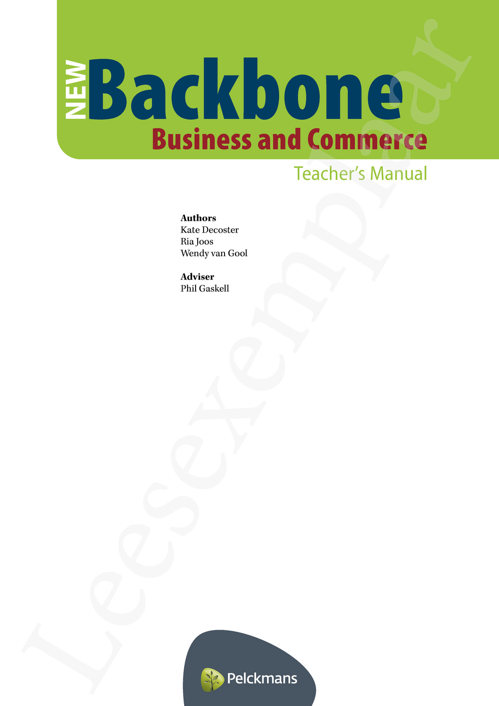Preview: New Backbone Business and Commerce Teacher's Manual (editie 2016)