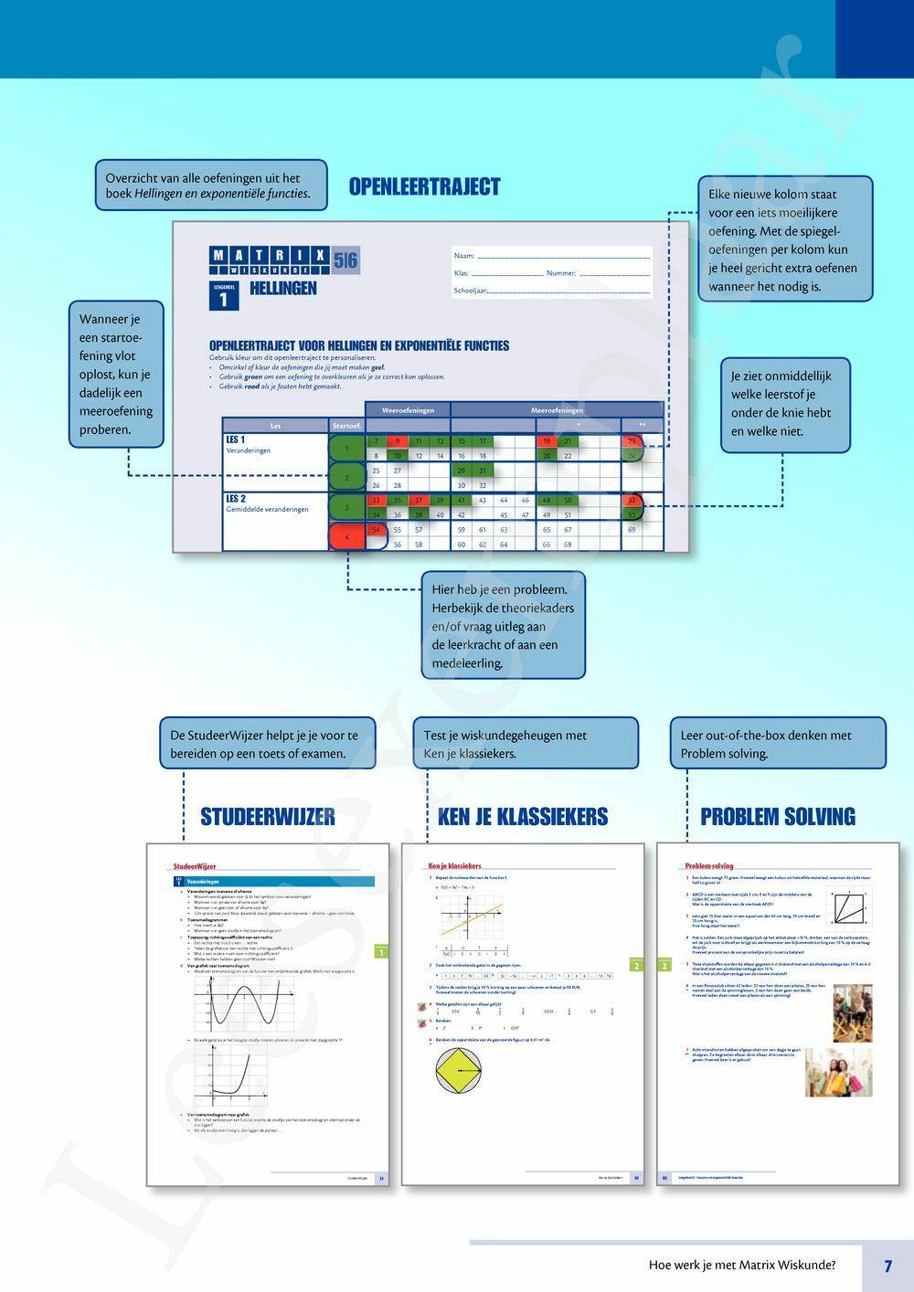 Preview: Matrix Wiskunde 5/6 Hellingen en exponentiële functies 2 uur wiskunde tso-kso (VVKSO) Leerwerkboek