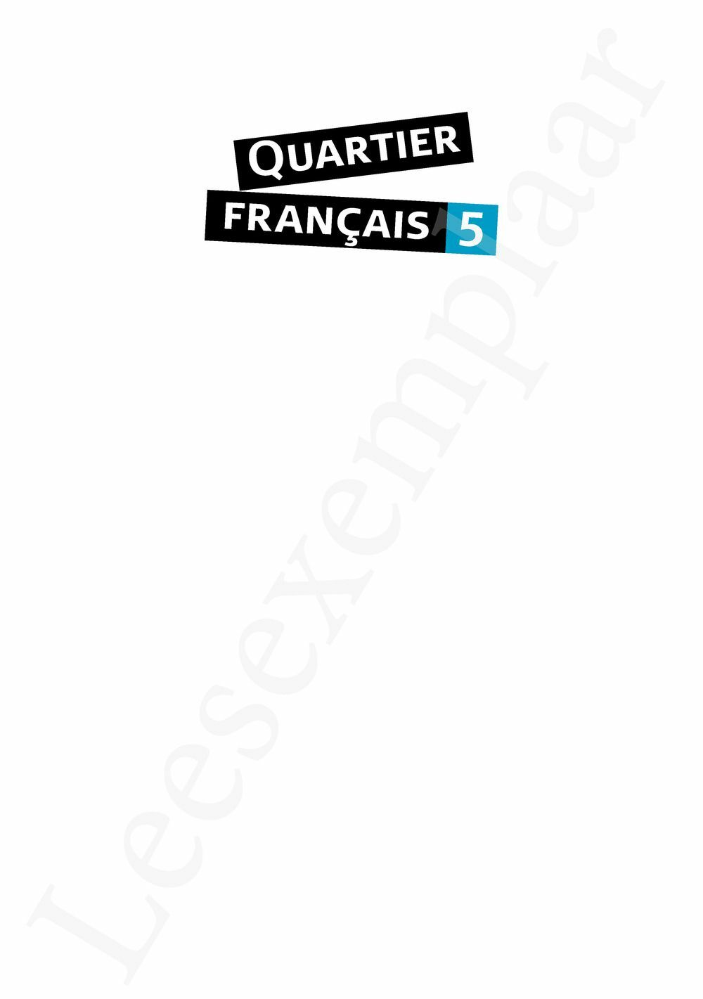 Preview: Quartier français 5 Lectures