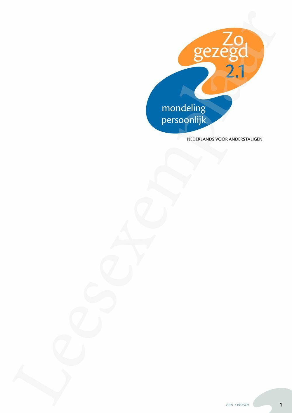 Preview: Zo gezegd 2.1 Threshold 1 mondeling persoonlijk Leerwerkboek en cd voor de cursist
