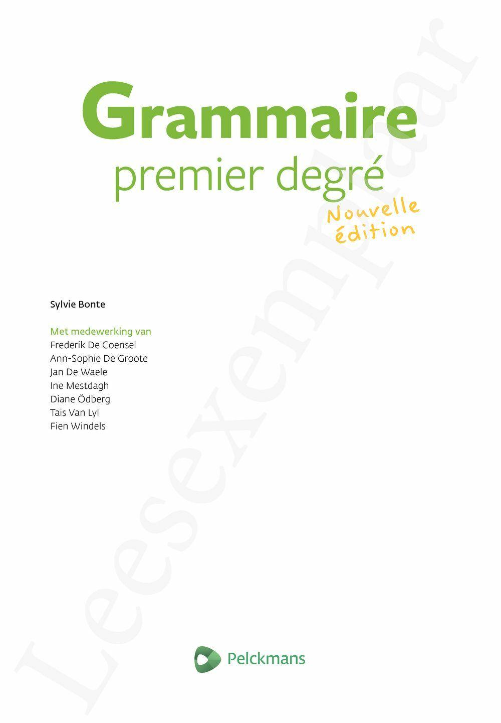 Preview: Grammaire Premier degré Nouvelle édition