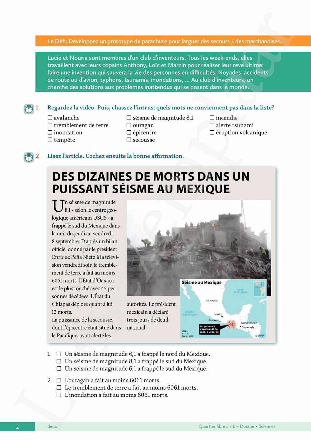 Preview: Quartier libre 5 / 6 Dossier Sciences