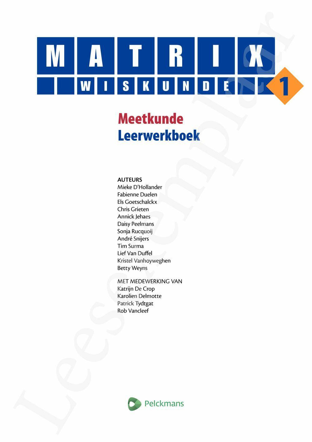 Preview: Matrix Wiskunde 1 Meetkunde Leerwerkboek (inclusief Pelckmans Portaal)