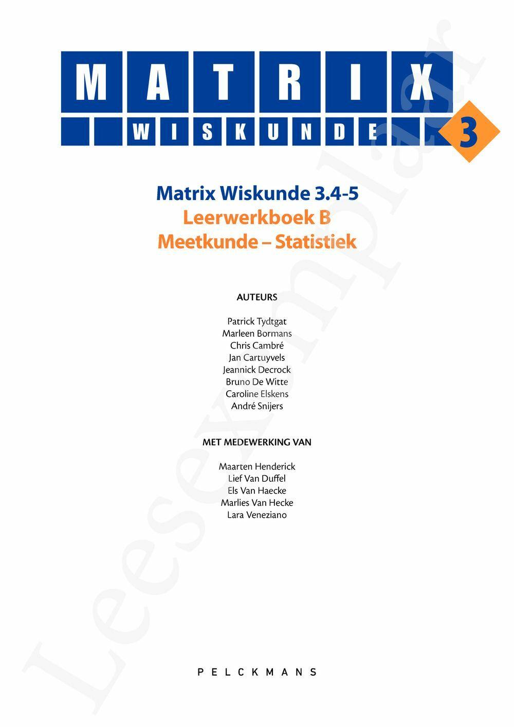 Preview: Matrix Wiskunde 3.4-5 Leerwerkboek B Meetkunde - Statistiek (inclusief Pelckmans Portaal)